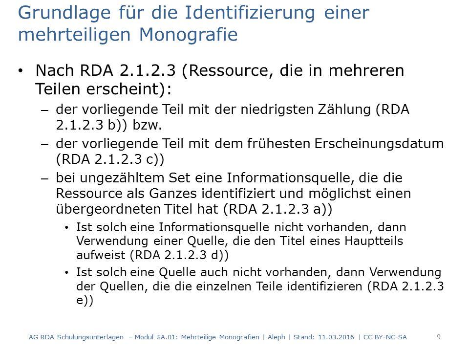 Grundlage für die Identifizierung einer mehrteiligen Monografie Nach RDA 2.1.2.3 (Ressource, die in mehreren Teilen erscheint): – der vorliegende Teil
