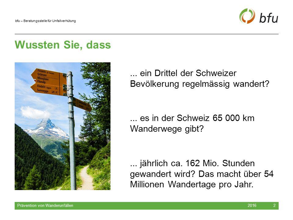 bfu – Beratungsstelle für Unfallverhütung Wussten Sie, dass 2016 Prävention von Wanderunfällen 2... es in der Schweiz 65 000 km Wanderwege gibt?... jä