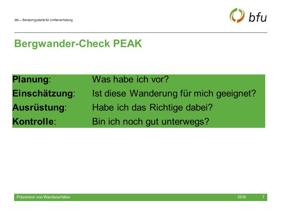 bfu – Beratungsstelle für Unfallverhütung 2016 Prävention von Wanderunfällen 7 Bergwander-Check PEAK Planung: Was habe ich vor? Einschätzung: Ist dies