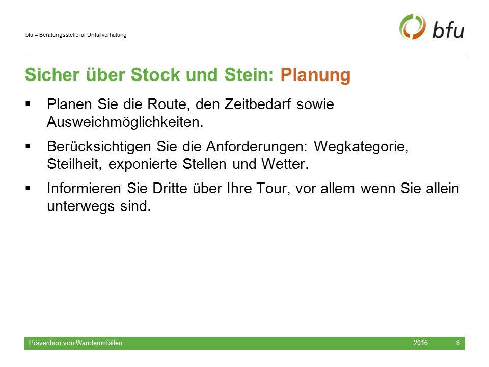 bfu – Beratungsstelle für Unfallverhütung Sicher über Stock und Stein: Planung 2016 Prävention von Wanderunfällen 8  Planen Sie die Route, den Zeitbedarf sowie Ausweichmöglichkeiten.