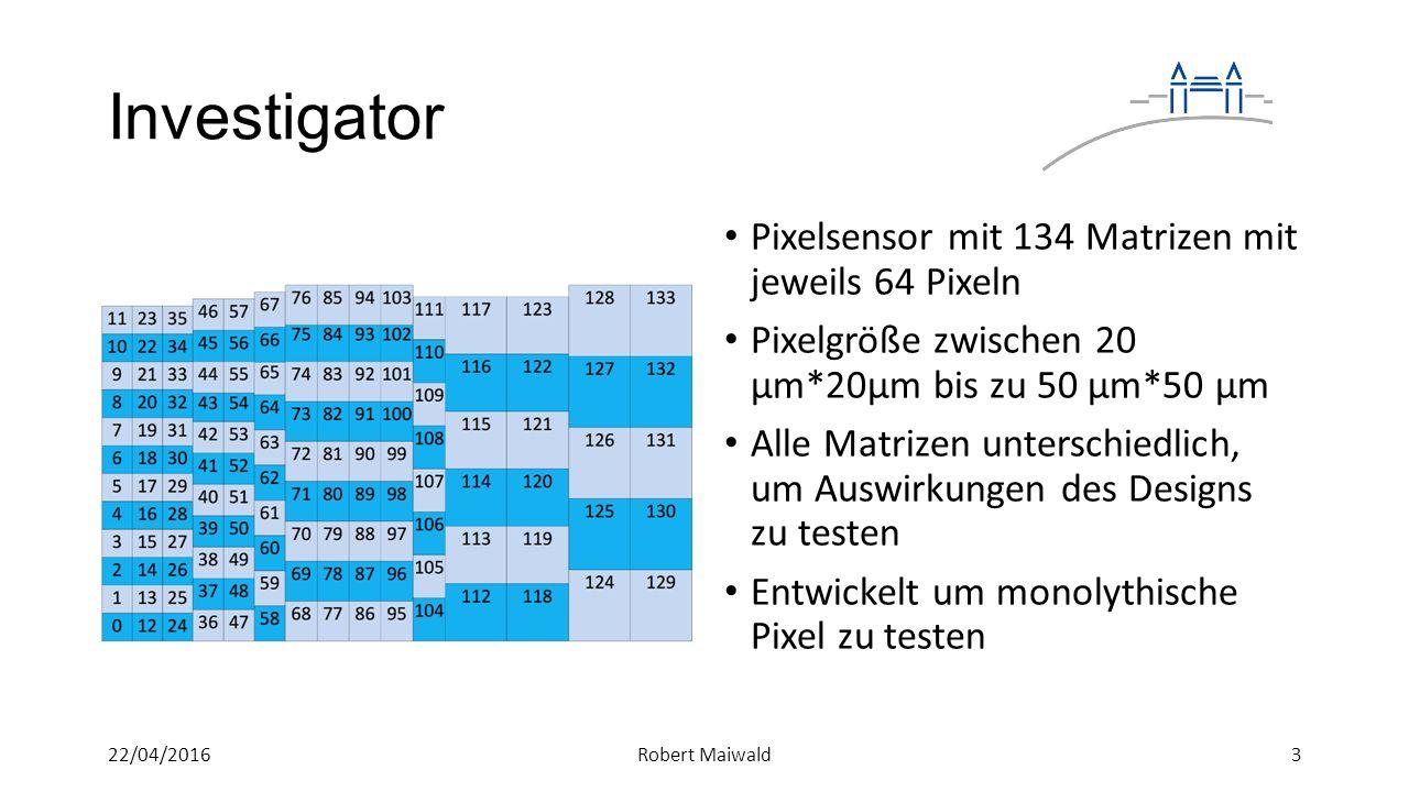 Investigator Pixelsensor mit 134 Matrizen mit jeweils 64 Pixeln Pixelgröße zwischen 20 μm*20μm bis zu 50 μm*50 μm Alle Matrizen unterschiedlich, um Auswirkungen des Designs zu testen Entwickelt um monolythische Pixel zu testen 322/04/2016Robert Maiwald