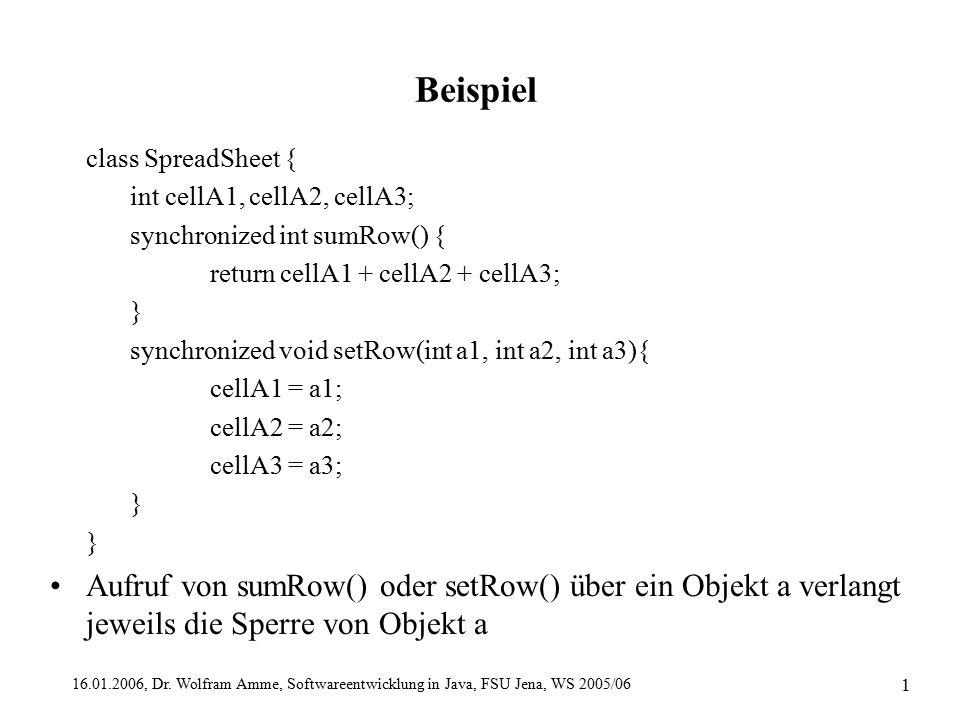 16.01.2006, Dr. Wolfram Amme, Softwareentwicklung in Java, FSU Jena, WS 2005/06 1 Beispiel class SpreadSheet { int cellA1, cellA2, cellA3; synchronize