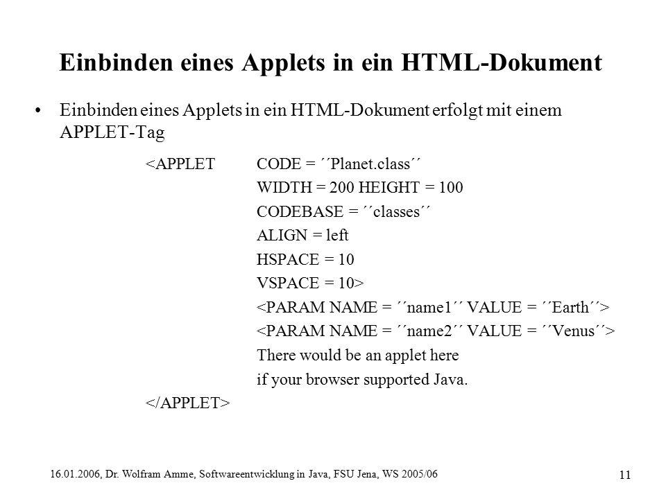 16.01.2006, Dr. Wolfram Amme, Softwareentwicklung in Java, FSU Jena, WS 2005/06 11 Einbinden eines Applets in ein HTML-Dokument Einbinden eines Applet
