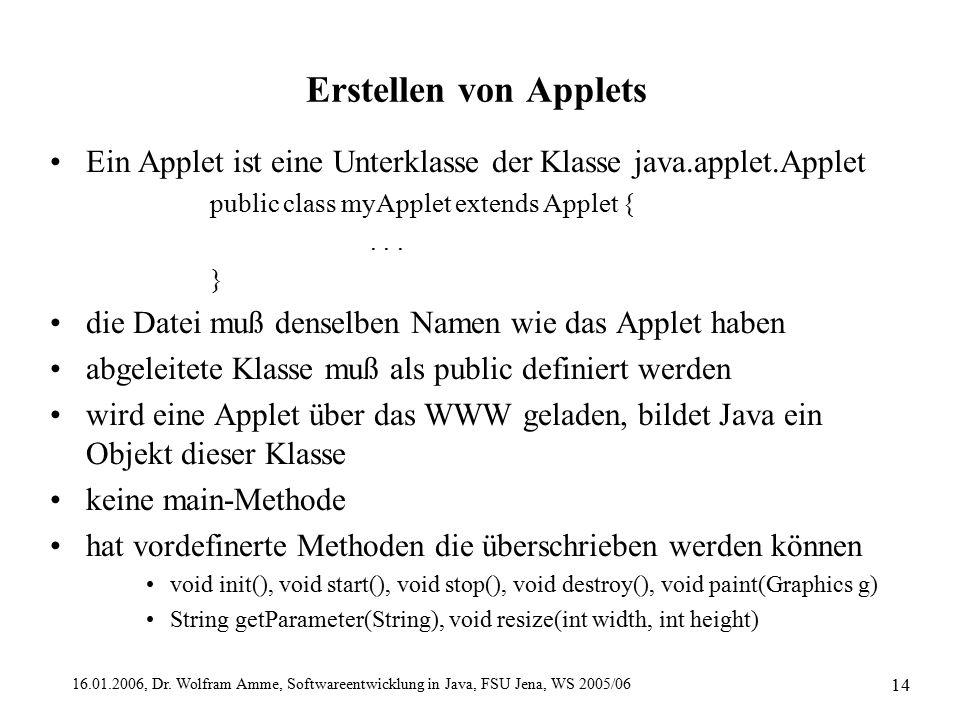 16.01.2006, Dr. Wolfram Amme, Softwareentwicklung in Java, FSU Jena, WS 2005/06 14 Erstellen von Applets Ein Applet ist eine Unterklasse der Klasse ja