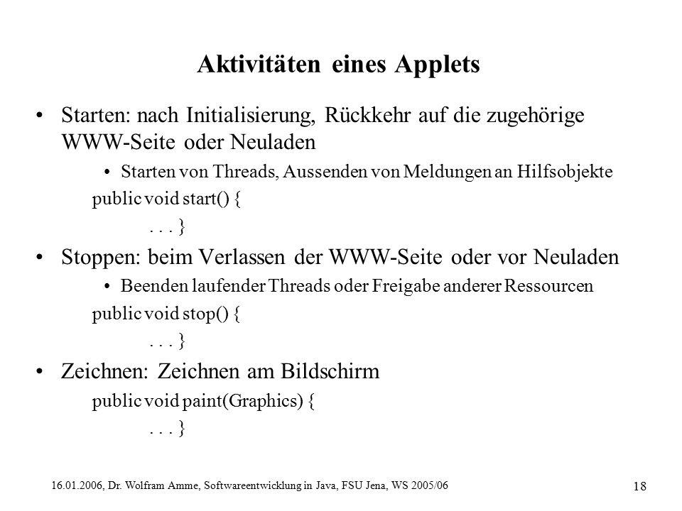 16.01.2006, Dr. Wolfram Amme, Softwareentwicklung in Java, FSU Jena, WS 2005/06 18 Aktivitäten eines Applets Starten: nach Initialisierung, Rückkehr a