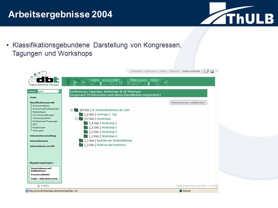 Klassifikationsgebundene Darstellung von Kongressen, Tagungen und Workshops