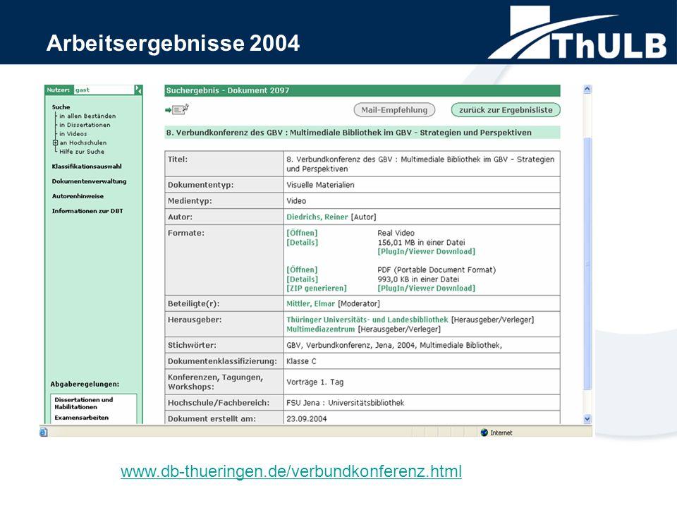 Arbeitsergebnisse 2004 www.db-thueringen.de/verbundkonferenz.html