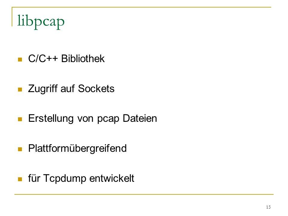 15 libpcap C/C++ Bibliothek Zugriff auf Sockets Erstellung von pcap Dateien Plattformübergreifend für Tcpdump entwickelt