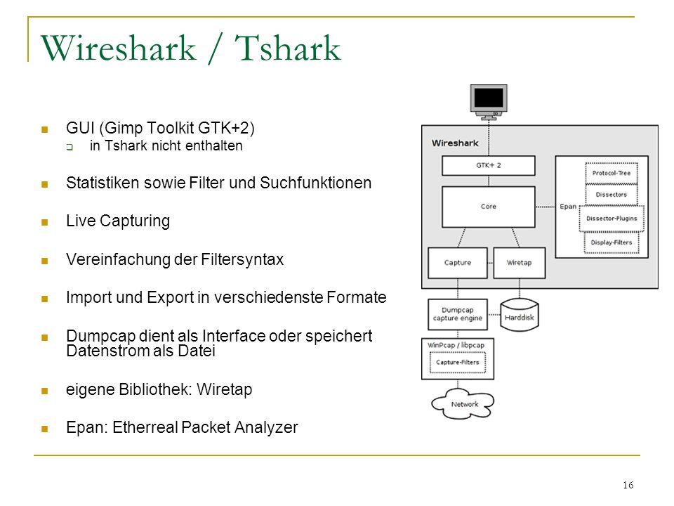 16 Wireshark / Tshark GUI (Gimp Toolkit GTK+2)  in Tshark nicht enthalten Statistiken sowie Filter und Suchfunktionen Live Capturing Vereinfachung de