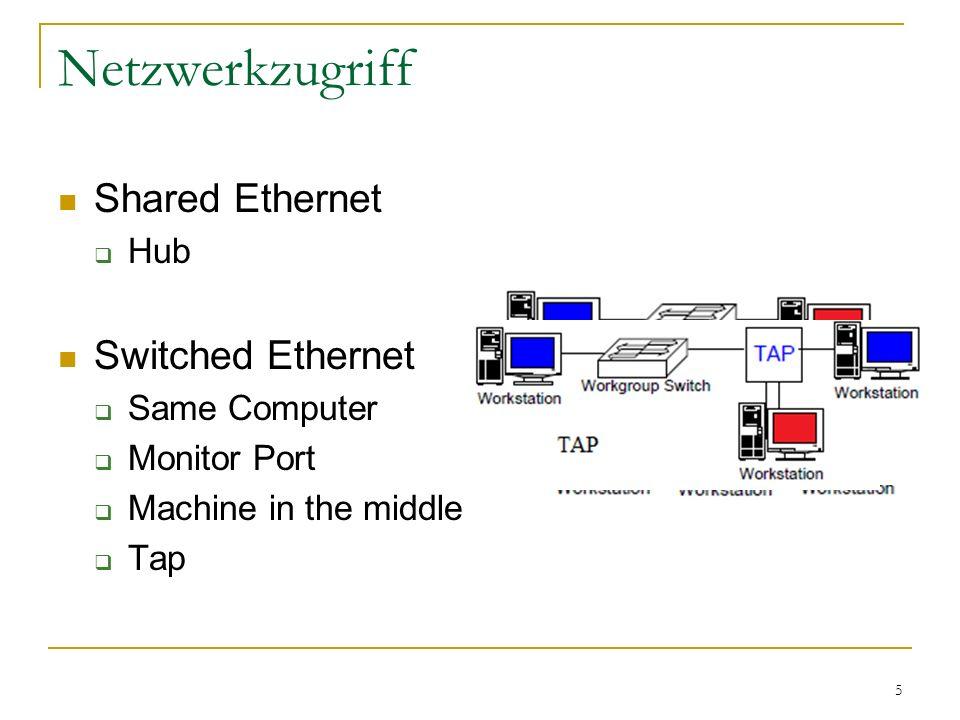 16 Wireshark / Tshark GUI (Gimp Toolkit GTK+2)  in Tshark nicht enthalten Statistiken sowie Filter und Suchfunktionen Live Capturing Vereinfachung der Filtersyntax Import und Export in verschiedenste Formate Dumpcap dient als Interface oder speichert Datenstrom als Datei eigene Bibliothek: Wiretap Epan: Etherreal Packet Analyzer