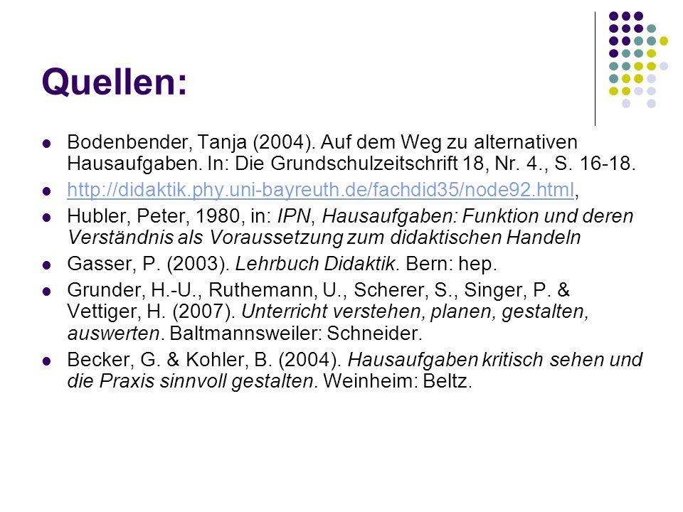 Quellen: Bodenbender, Tanja (2004). Auf dem Weg zu alternativen Hausaufgaben.