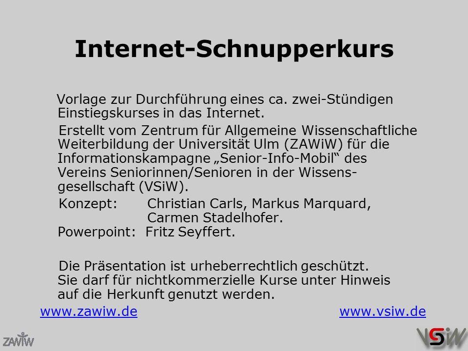 Internet-Schnupperkurs Vorlage zur Durchführung eines ca.