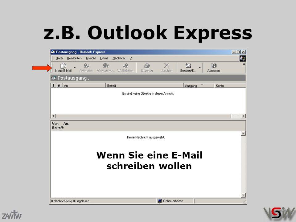 z.B. Outlook Express Wenn Sie eine E-Mail schreiben wollen