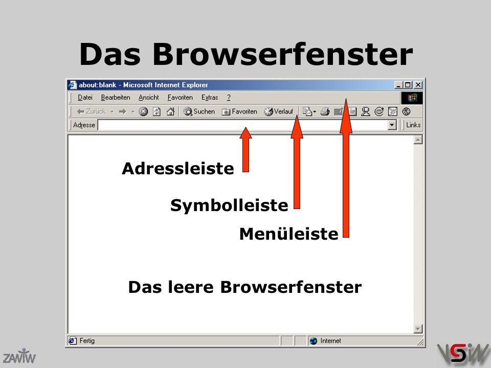 Das Browserfenster Das leere Browserfenster Menüleiste Symbolleiste Adressleiste