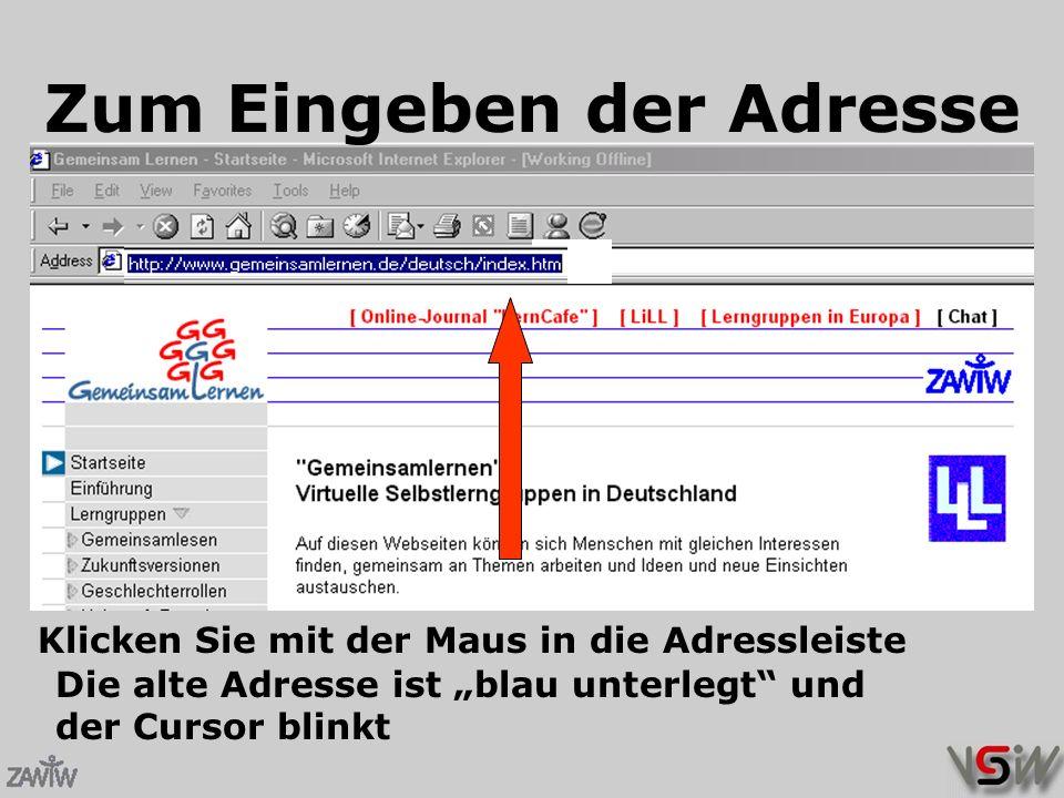 """Die alte Adresse ist """"blau unterlegt und der Cursor blinkt Zum Eingeben der Adresse Klicken Sie mit der Maus in die Adressleiste"""