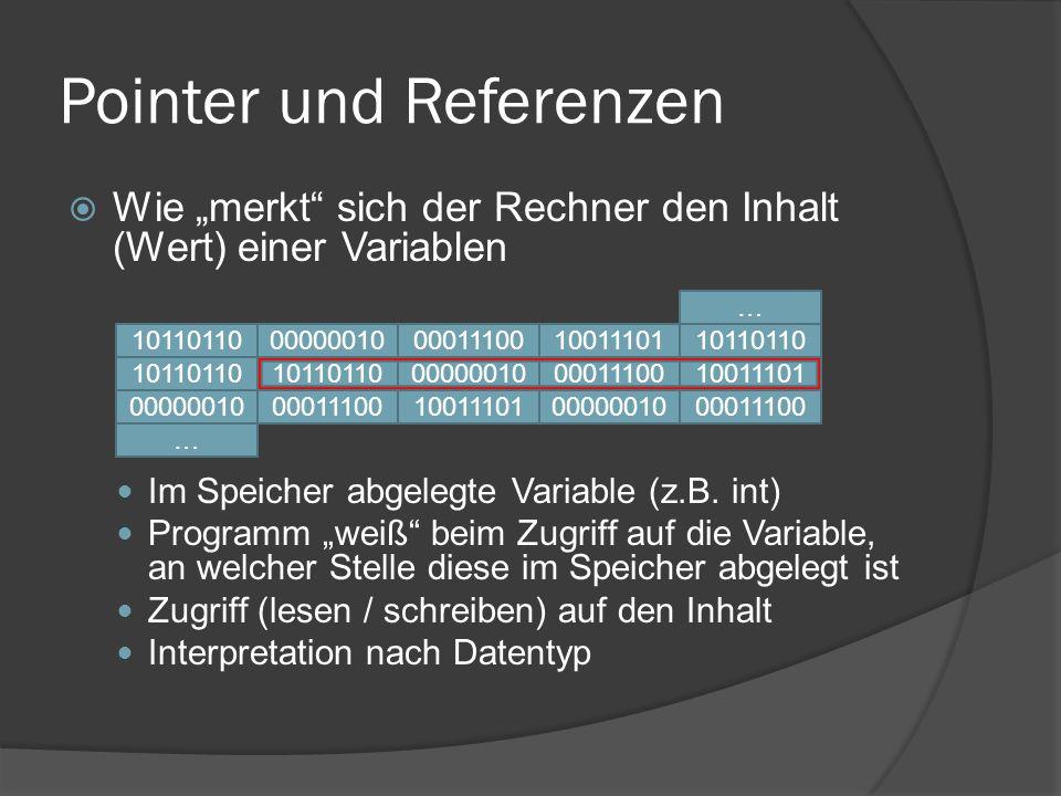 Pointer und Referenzen  Hinter den Kulissen: Definition einer Variablen Reservieren einer Stelle im Speicher Interne Zuordnung von Variablennamen, Typ und Speicherstelle ev.
