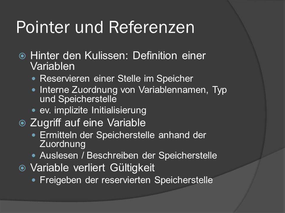 Pointer und Referenzen  Ein Pointer ist eine Variable, deren Inhalt eine Speicheradresse ist 1011011000000010000111001001110110110110 0000000000000010 10011101 00011100 … … 1011011000000010000111001001110110110110 00000010 10011101 00011100 … …