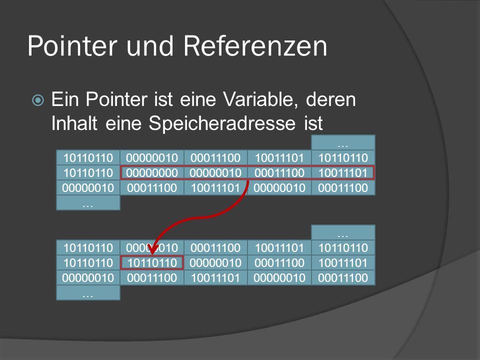 Referenzen  Definition mittels & vorm Variablennamen int myVar = 10; // normale Variable int &myRef = myVar; // Referenz  beide Variablen zeigen auf die gleiche Stelle im Speicher