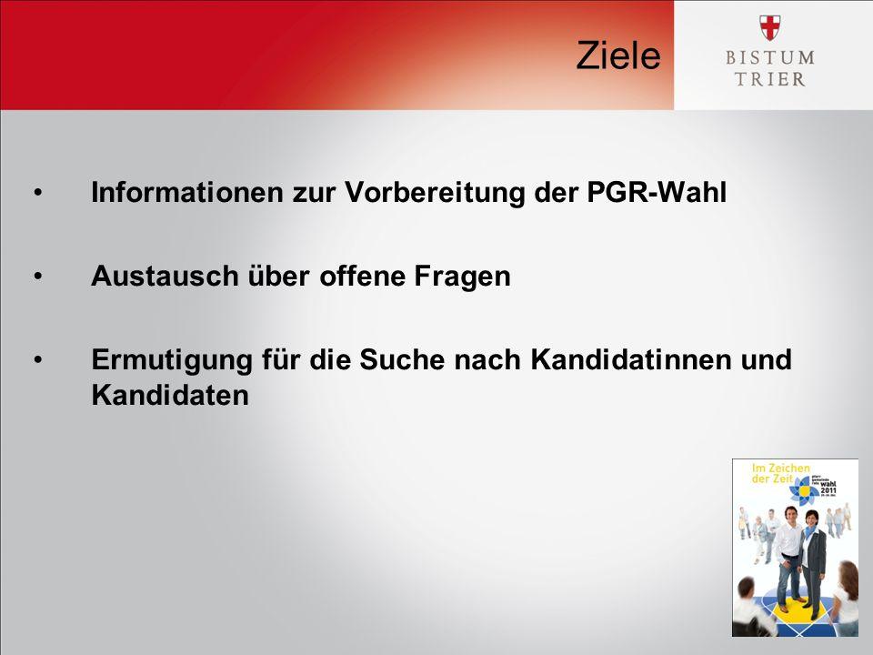 Ziele Informationen zur Vorbereitung der PGR-Wahl Austausch über offene Fragen Ermutigung für die Suche nach Kandidatinnen und Kandidaten