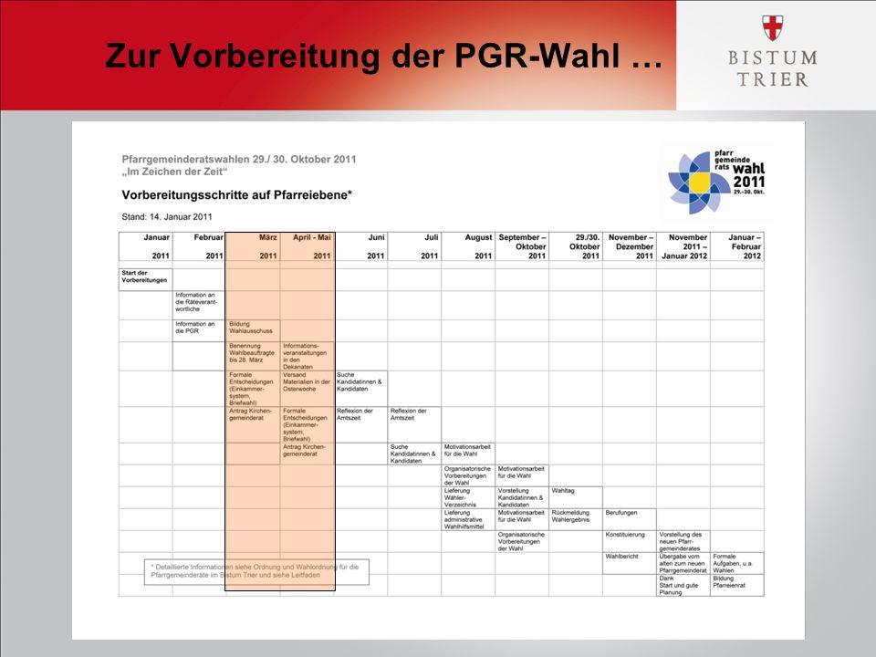 Zur Vorbereitung der PGR-Wahl …