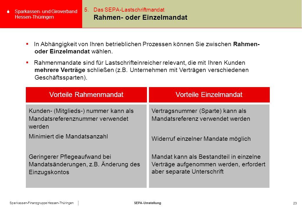 SEPA-UmstellungSparkassen-Finanzgruppe Hessen-Thüringen SSparkassen- und Giroverband Hessen-Thüringen 23 5.