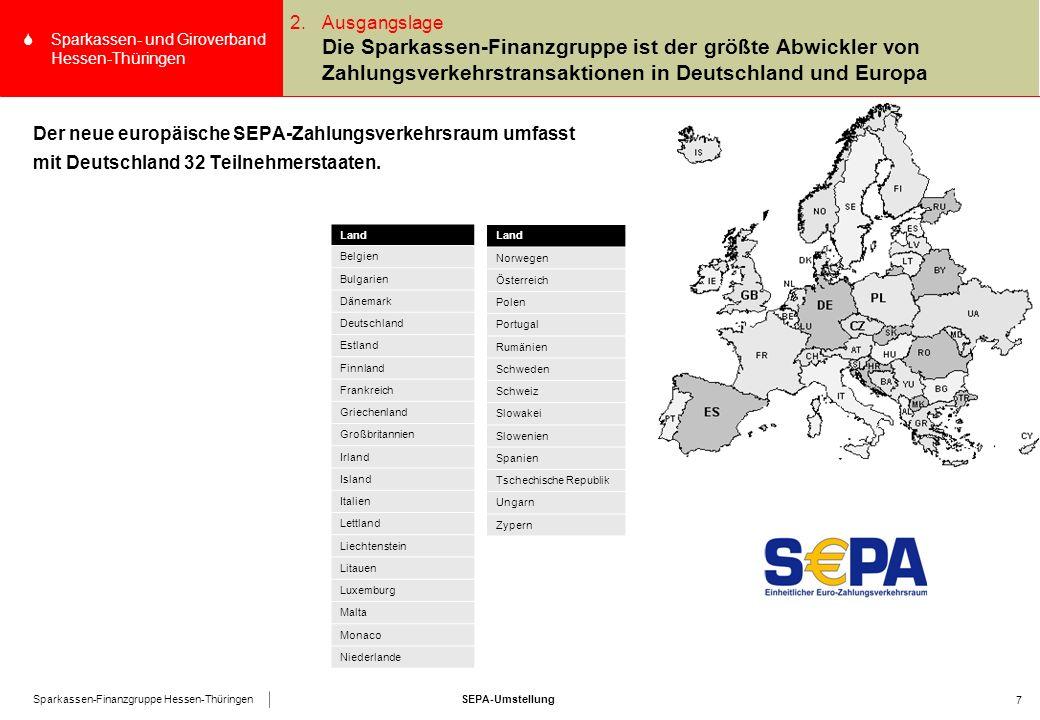 SEPA-UmstellungSparkassen-Finanzgruppe Hessen-Thüringen SSparkassen- und Giroverband Hessen-Thüringen 8 Agenda 4.SEPA-Lastschrift SEPA-Umstellung 1.Allgemeines über den SGVHT 2.Ausgangslage 3.SEPA-Überweisung 5.Das SEPA-Lastschriftmandat 6.