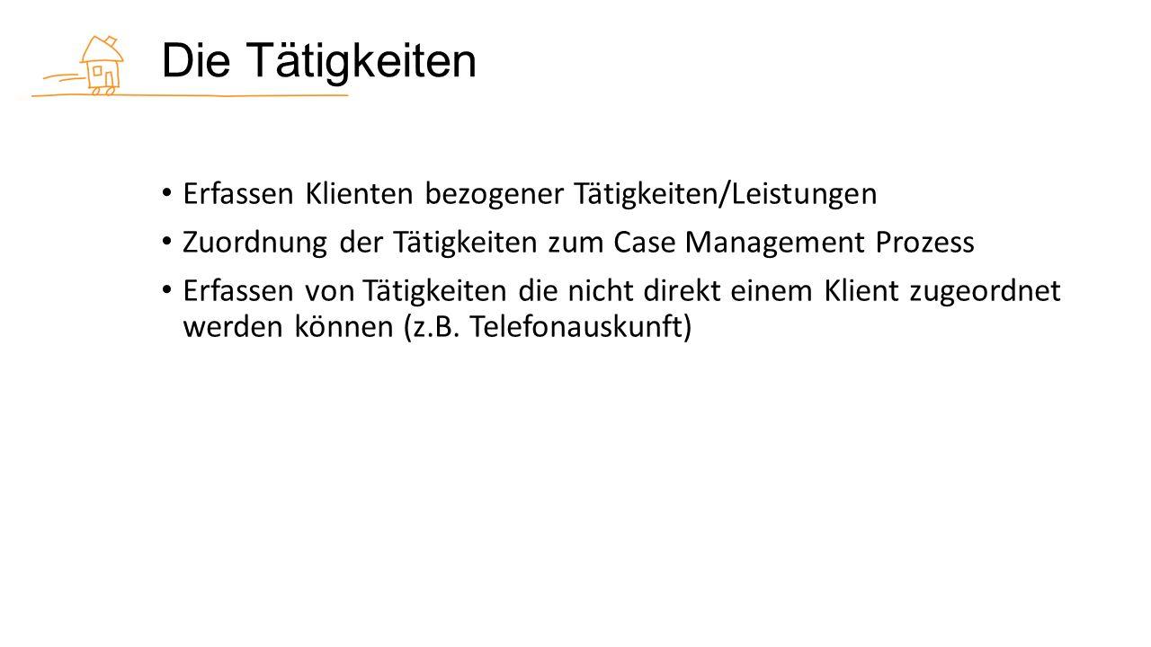 Die Tätigkeiten Erfassen Klienten bezogener Tätigkeiten/Leistungen Zuordnung der Tätigkeiten zum Case Management Prozess Erfassen von Tätigkeiten die nicht direkt einem Klient zugeordnet werden können (z.B.