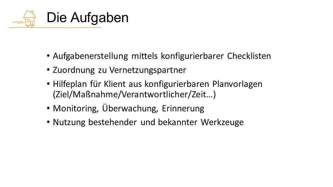 Die Aufgaben Aufgabenerstellung mittels konfigurierbarer Checklisten Zuordnung zu Vernetzungspartner Hilfeplan für Klient aus konfigurierbaren Planvorlagen (Ziel/Maßnahme/Verantwortlicher/Zeit…) Monitoring, Überwachung, Erinnerung Nutzung bestehender und bekannter Werkzeuge