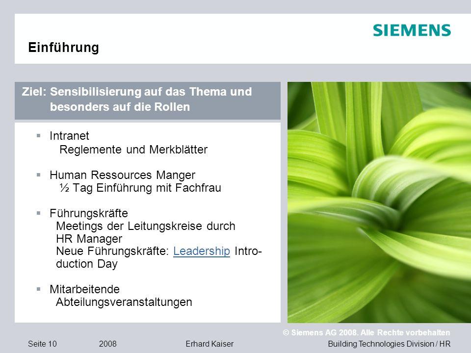 Building Technologies Division / HR © Siemens AG 2008. Alle Rechte vorbehalten 2008Erhard KaiserSeite 10 Einführung  Intranet Reglemente und Merkblät