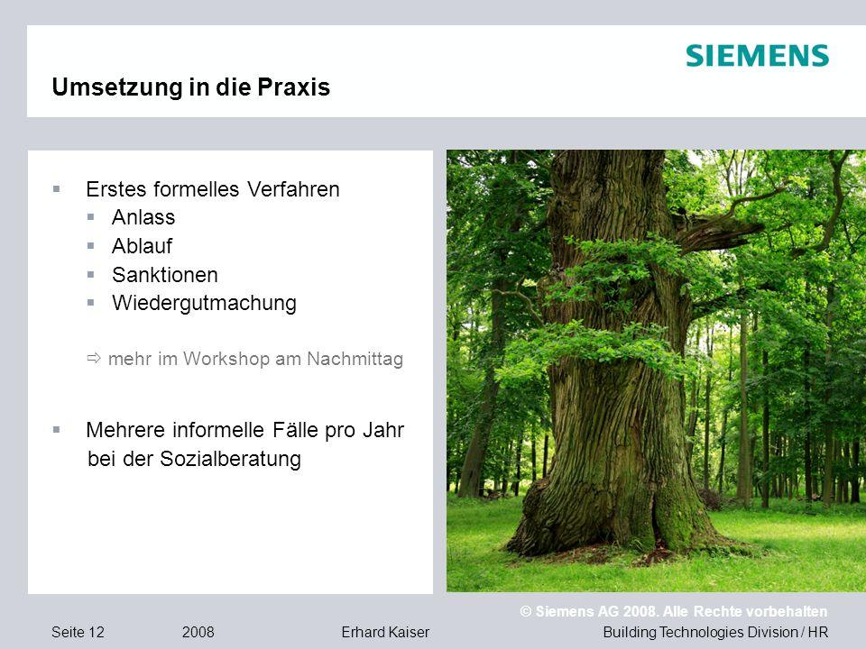 Building Technologies Division / HR © Siemens AG 2008. Alle Rechte vorbehalten 2008Erhard KaiserSeite 12 Umsetzung in die Praxis  Erstes formelles Ve