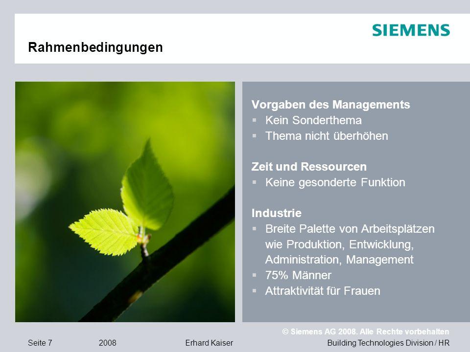 Building Technologies Division / HR © Siemens AG 2008. Alle Rechte vorbehalten 2008Erhard KaiserSeite 7 Vorgaben des Managements  Kein Sonderthema 