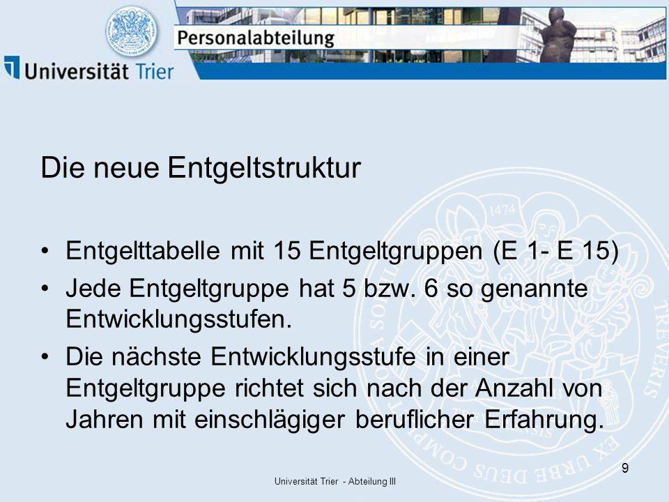 Universität Trier - Abteilung III 30 Schritt 2 a: Bildung des Vergleichsentgeltes Sonstige Zulagen z.B.