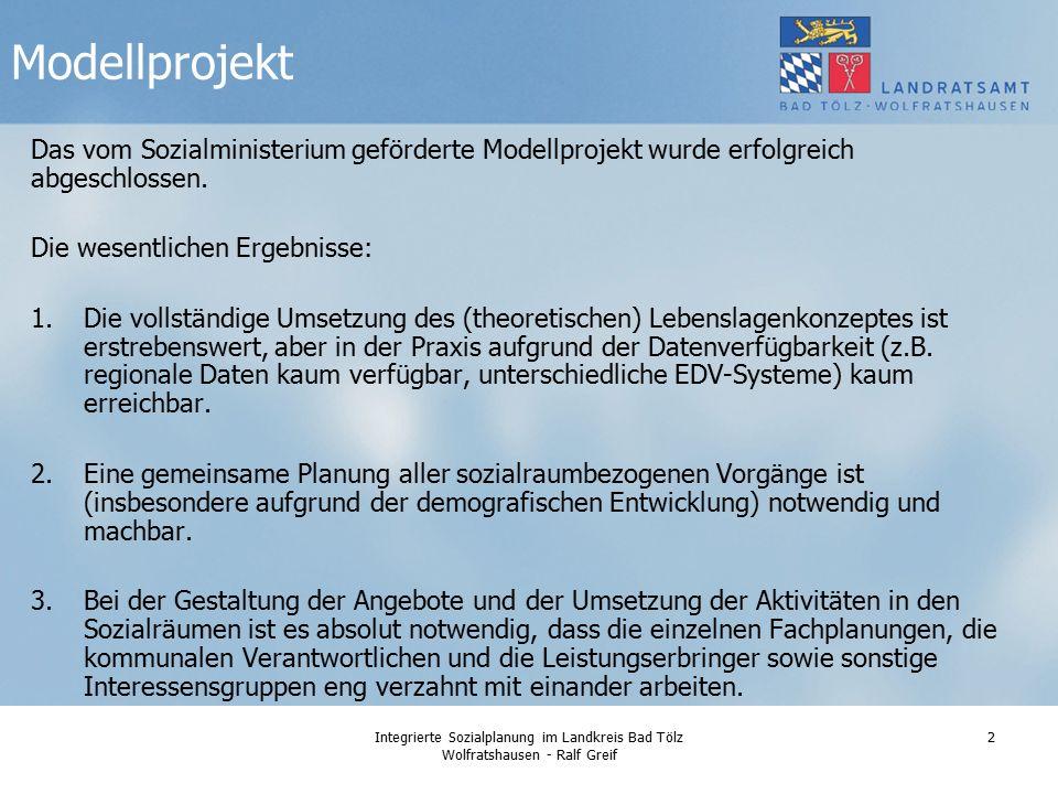 Integrierte Sozialplanung im Landkreis Bad Tölz Wolfratshausen - Ralf Greif 2 Das vom Sozialministerium geförderte Modellprojekt wurde erfolgreich abgeschlossen.