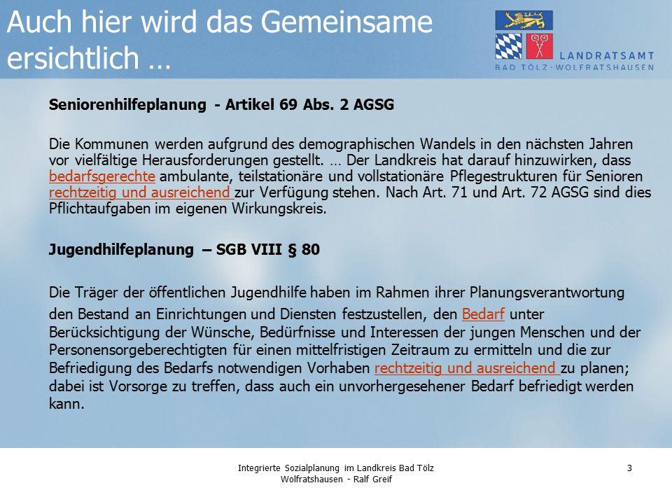 Integrierte Sozialplanung im Landkreis Bad Tölz Wolfratshausen - Ralf Greif 3 Seniorenhilfeplanung - Artikel 69 Abs.