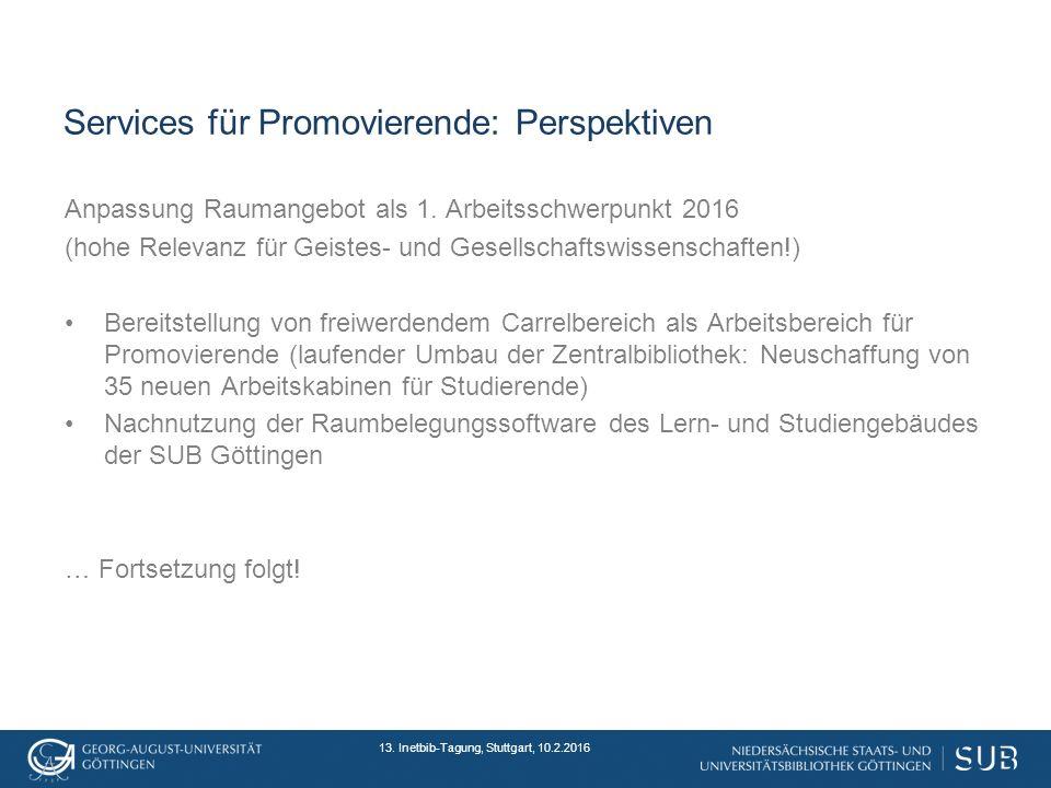 Services für Promovierende: Perspektiven Anpassung Raumangebot als 1.