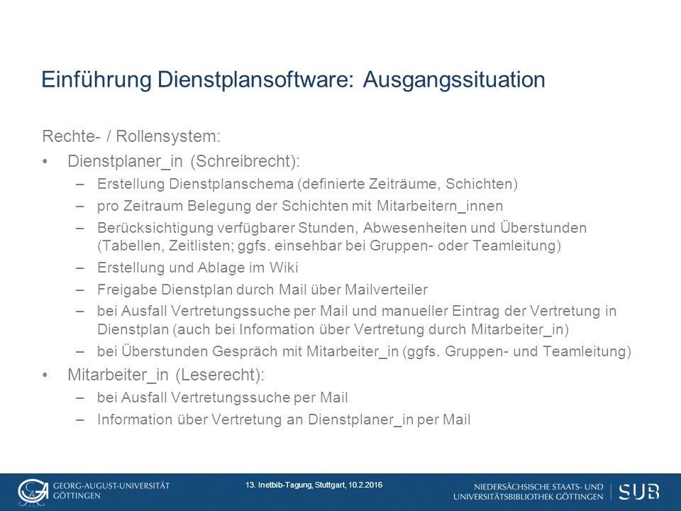 Einführung Dienstplansoftware: Ausgangssituation 13.