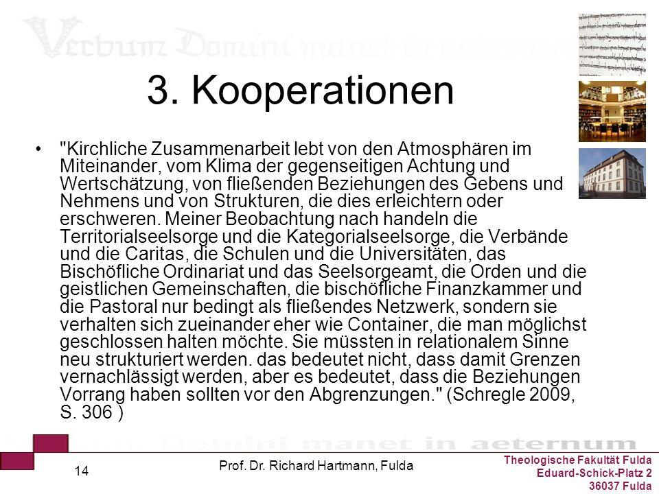 Theologische Fakultät Fulda Eduard-Schick-Platz 2 36037 Fulda Prof. Dr. Richard Hartmann, Fulda 14 3. Kooperationen