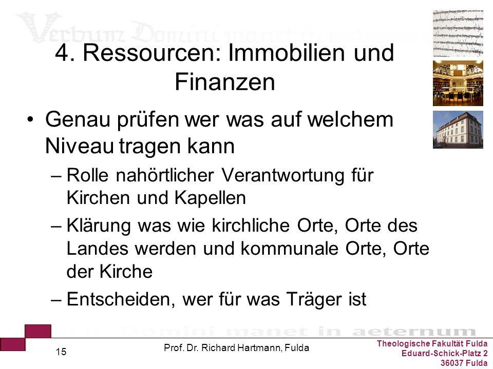 Theologische Fakultät Fulda Eduard-Schick-Platz 2 36037 Fulda Prof. Dr. Richard Hartmann, Fulda 15 4. Ressourcen: Immobilien und Finanzen Genau prüfen