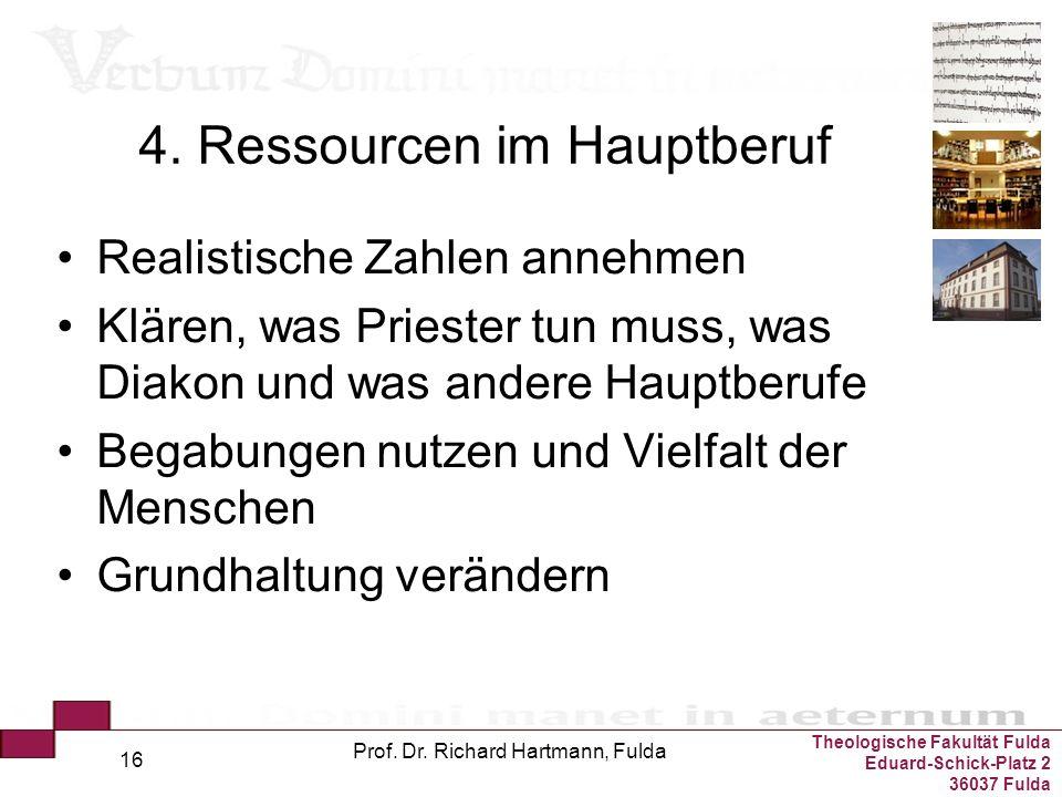 Theologische Fakultät Fulda Eduard-Schick-Platz 2 36037 Fulda Prof. Dr. Richard Hartmann, Fulda 16 4. Ressourcen im Hauptberuf Realistische Zahlen ann