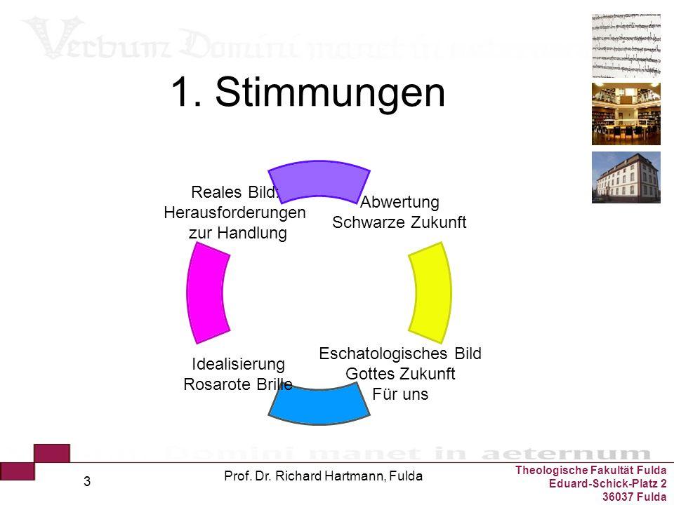 Theologische Fakultät Fulda Eduard-Schick-Platz 2 36037 Fulda Prof. Dr. Richard Hartmann, Fulda 3 1. Stimmungen Abwertung Schwarze Zukunft Eschatologi