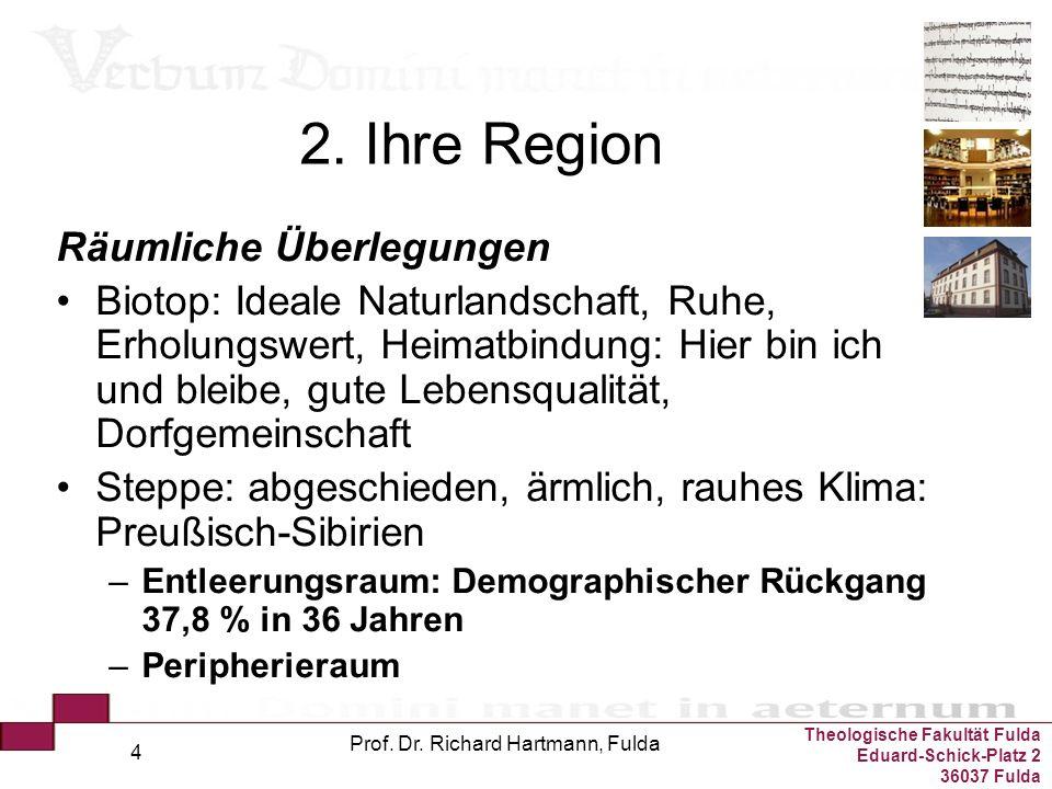Theologische Fakultät Fulda Eduard-Schick-Platz 2 36037 Fulda Prof. Dr. Richard Hartmann, Fulda 4 2. Ihre Region Räumliche Überlegungen Biotop: Ideale