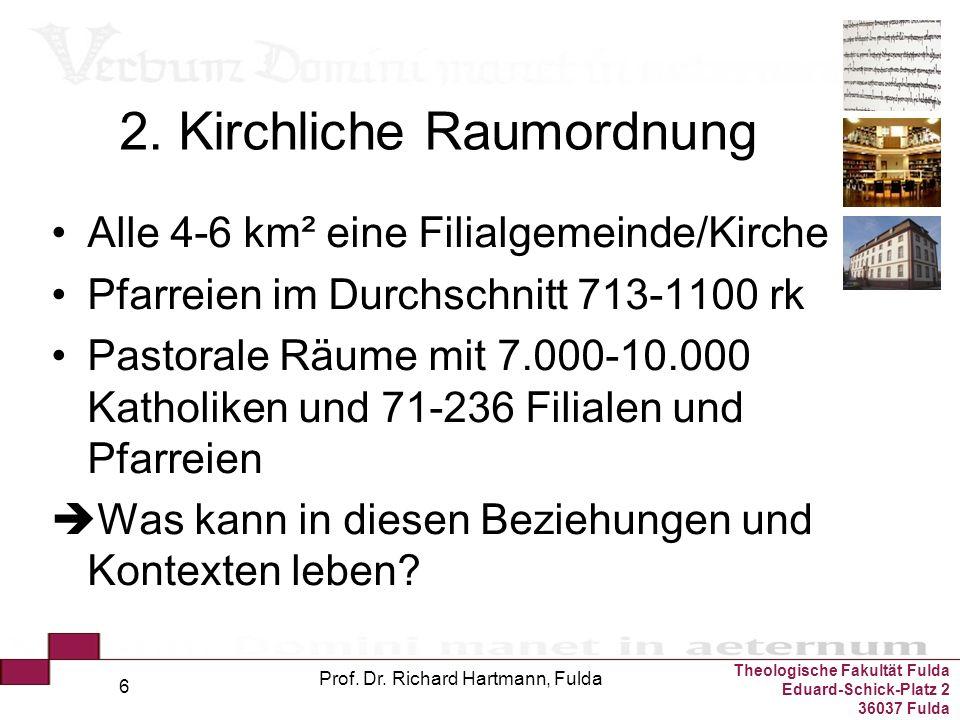 Theologische Fakultät Fulda Eduard-Schick-Platz 2 36037 Fulda Prof. Dr. Richard Hartmann, Fulda 6 2. Kirchliche Raumordnung Alle 4-6 km² eine Filialge