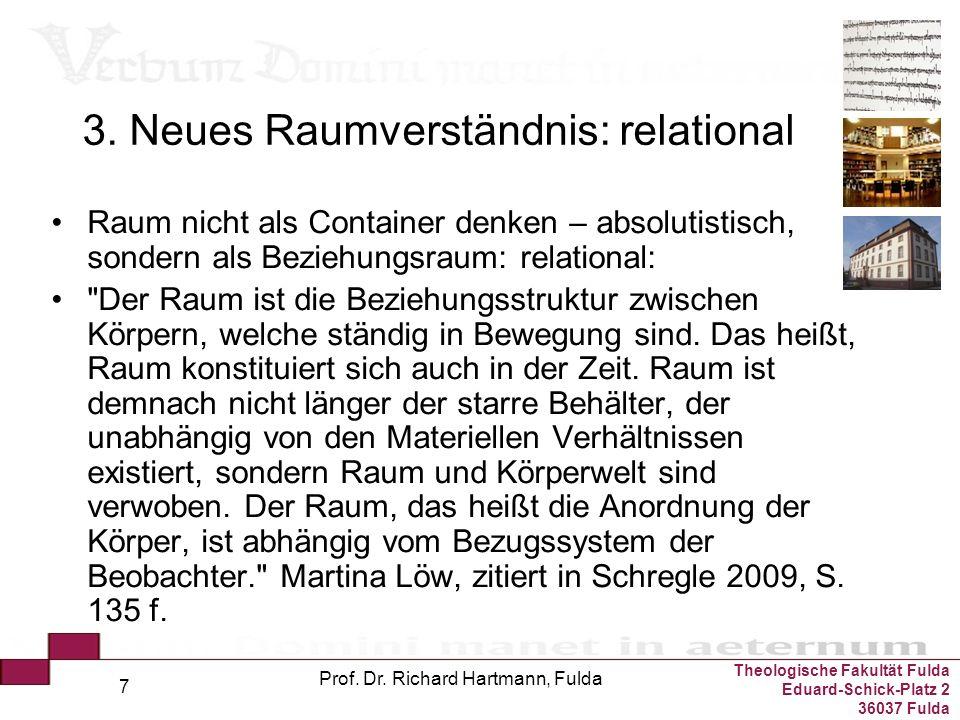 Theologische Fakultät Fulda Eduard-Schick-Platz 2 36037 Fulda Prof. Dr. Richard Hartmann, Fulda 7 3. Neues Raumverständnis: relational Raum nicht als