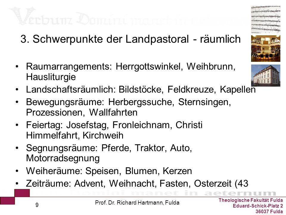 Theologische Fakultät Fulda Eduard-Schick-Platz 2 36037 Fulda Prof. Dr. Richard Hartmann, Fulda 9 3. Schwerpunkte der Landpastoral - räumlich Raumarra