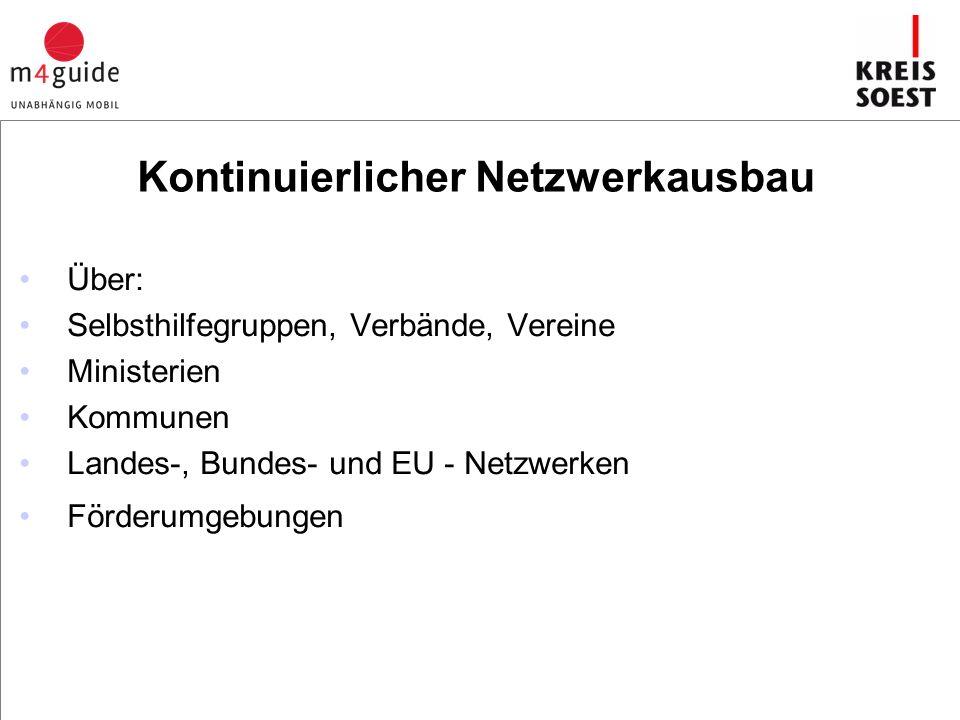 Kontinuierlicher Netzwerkausbau Über: Selbsthilfegruppen, Verbände, Vereine Ministerien Kommunen Landes-, Bundes- und EU - Netzwerken Förderumgebungen