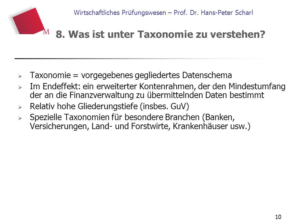 10 Wirtschaftliches Prüfungswesen – Prof. Dr. Hans-Peter Scharl  Taxonomie = vorgegebenes gegliedertes Datenschema  Im Endeffekt: ein erweiterter Ko