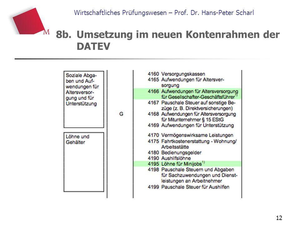 12 Wirtschaftliches Prüfungswesen – Prof. Dr. Hans-Peter Scharl 8b. Umsetzung im neuen Kontenrahmen der DATEV