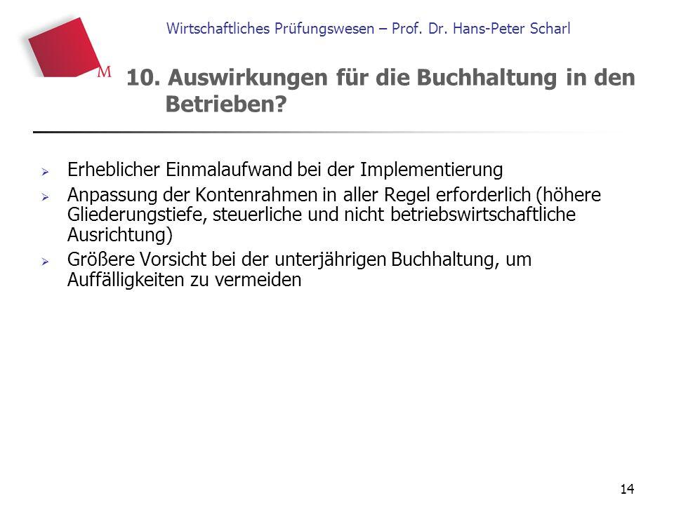 14 Wirtschaftliches Prüfungswesen – Prof. Dr. Hans-Peter Scharl  Erheblicher Einmalaufwand bei der Implementierung  Anpassung der Kontenrahmen in al