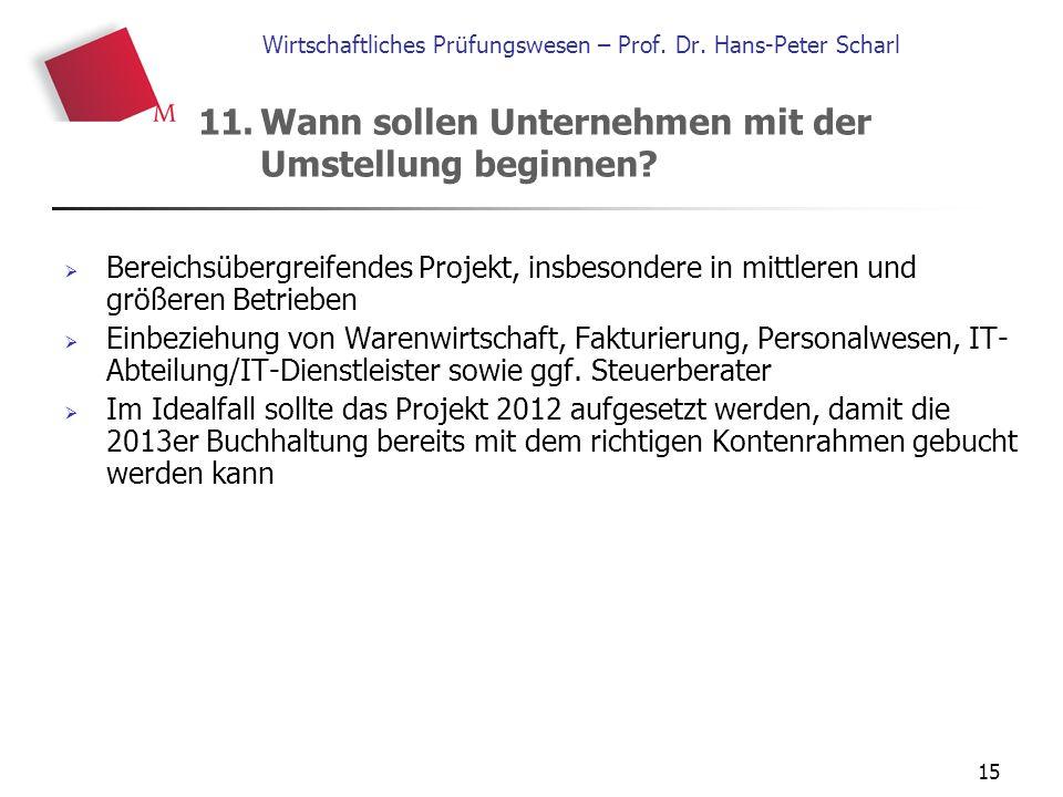 15 Wirtschaftliches Prüfungswesen – Prof. Dr. Hans-Peter Scharl  Bereichsübergreifendes Projekt, insbesondere in mittleren und größeren Betrieben  E