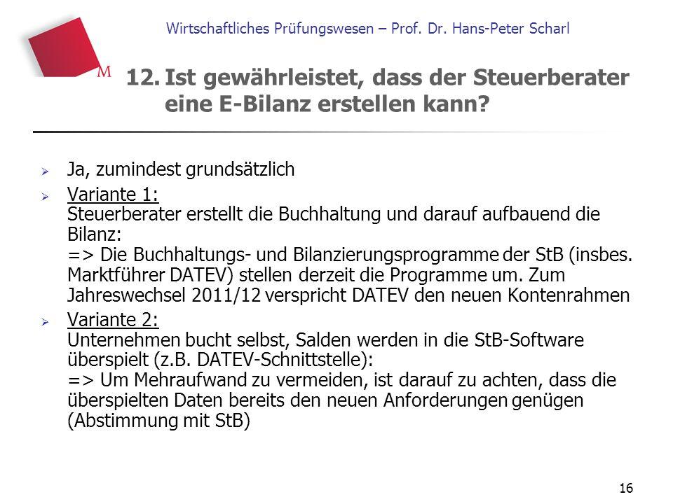 16 Wirtschaftliches Prüfungswesen – Prof. Dr. Hans-Peter Scharl  Ja, zumindest grundsätzlich  Variante 1: Steuerberater erstellt die Buchhaltung und